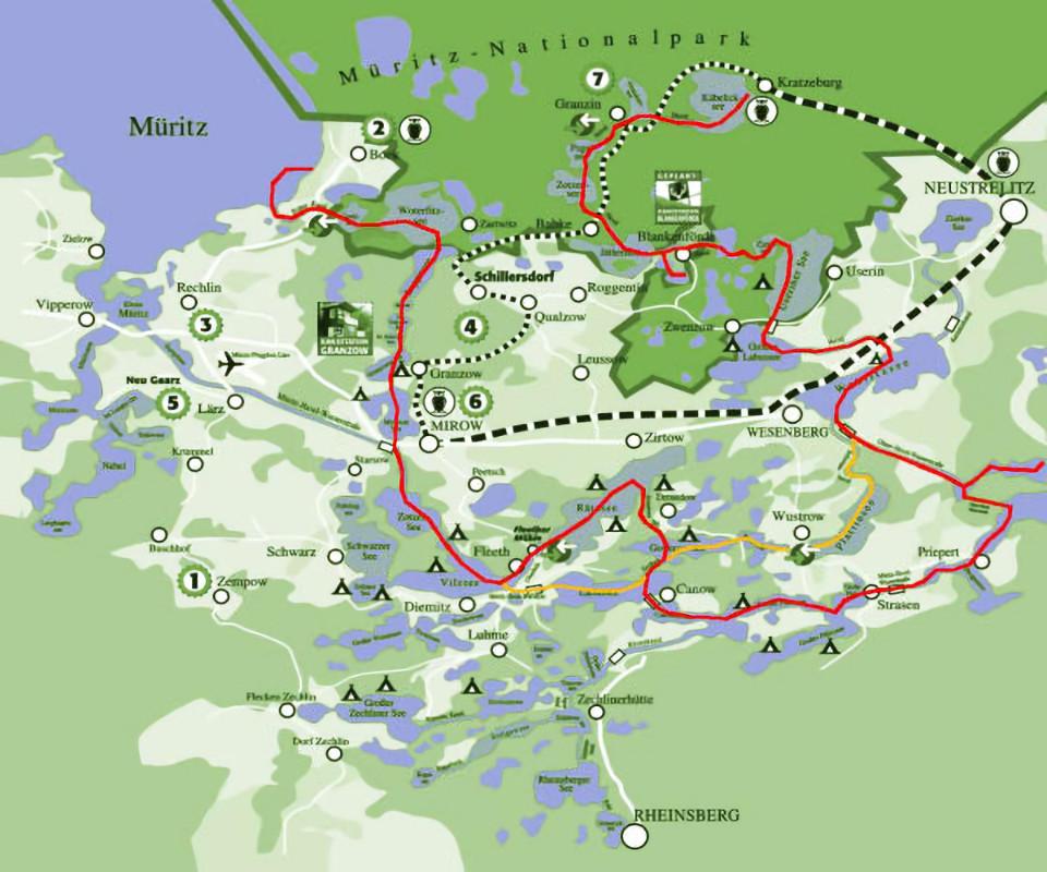 Seenplatte karte mecklenburger paddeln Bootsverleih und